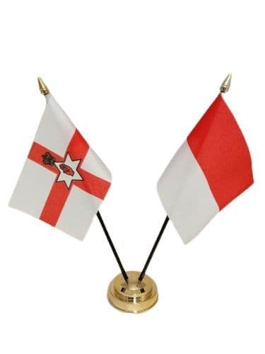 Indonesia with Northern Ireland Friendship Table Flag